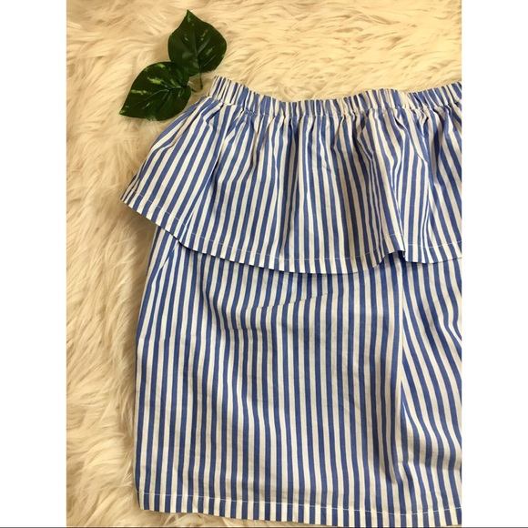 d647e7fecf H&M Skirts   Hp Hm Blue White Striped Peplum Skirt   Poshmark